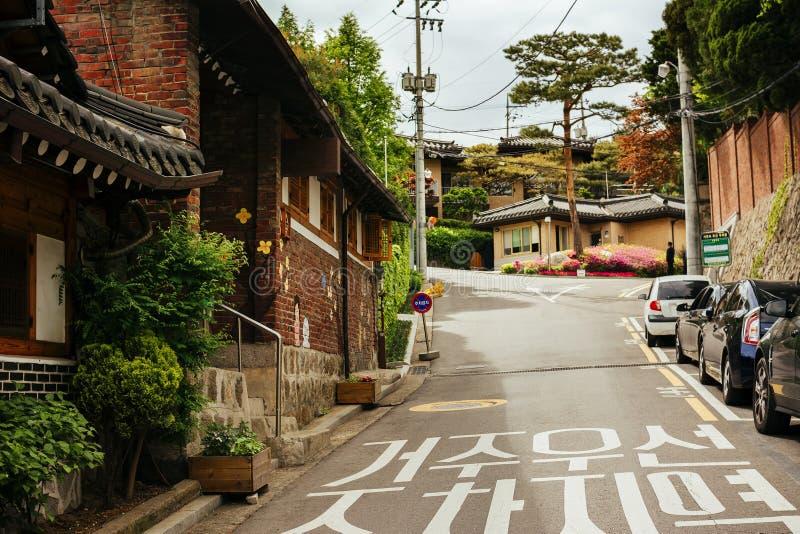 Seoul, distretto storico di Bukchon Hanok (Corea del Sud) fotografia stock