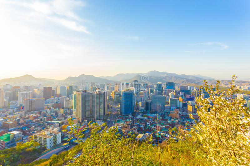 Seoul Downtown High View Cityscape Buildings royalty free stock photos