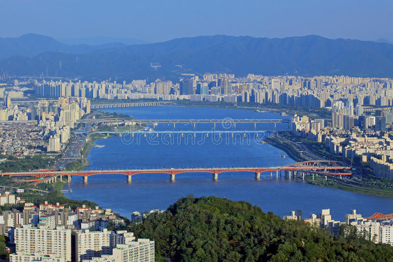Seoul Han River Cityscape stock photo