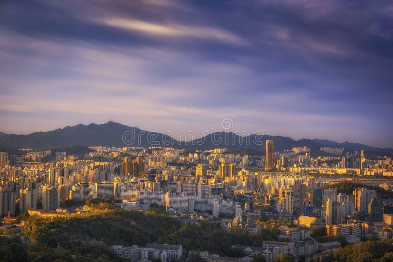 Seoul Hauptstadt Skyline und Morgenlicht, Südkorea lizenzfreie stockbilder