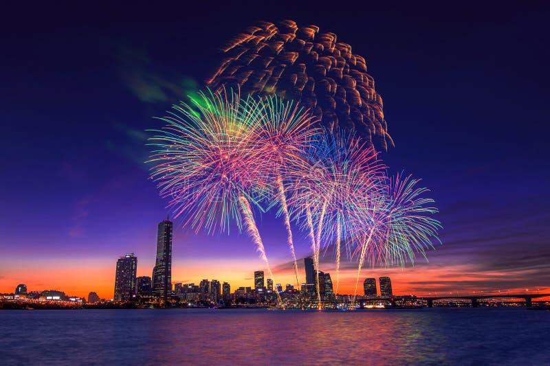 Seoul International Fireworks Festival. stock photo