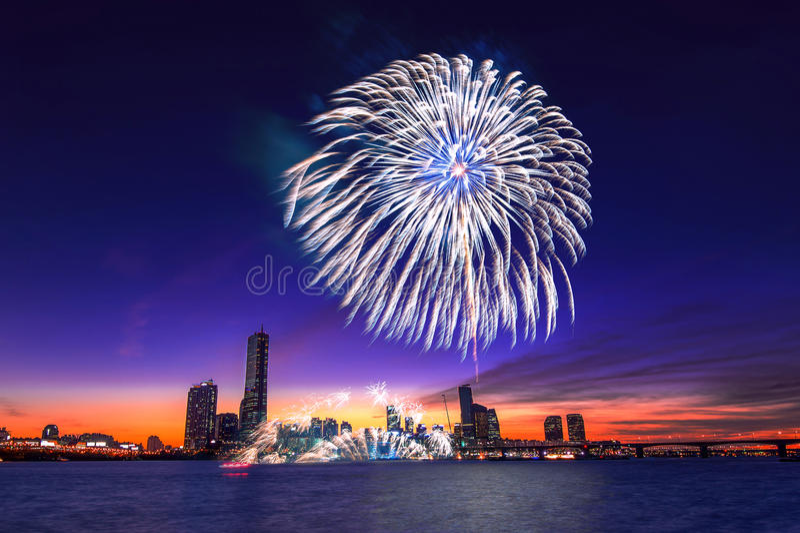 Seoul International Fireworks Festival. Seoul International Fireworks Festival in Korea stock photography