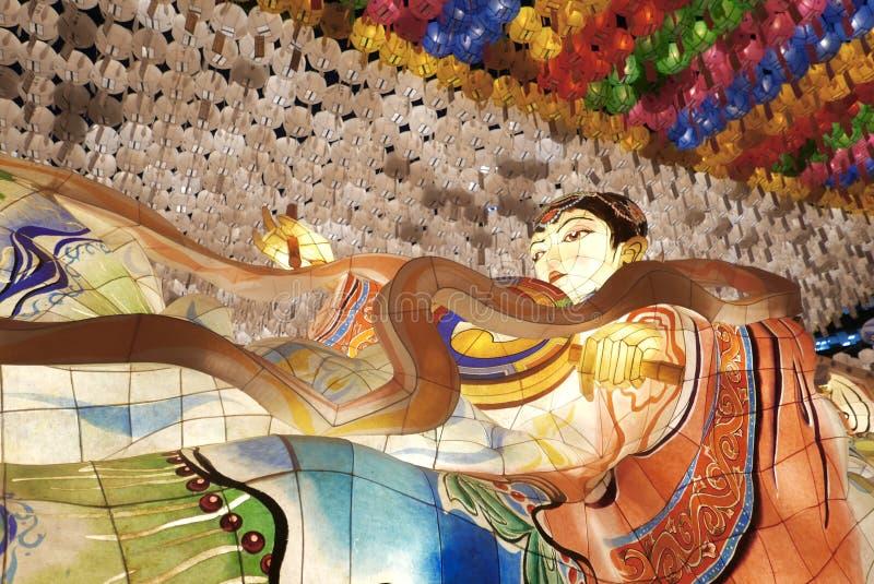 Seoul Korea-April 27, 2017: Lyktor på den Jogyesa templet som firar födelsedag för Buddha` s fotografering för bildbyråer