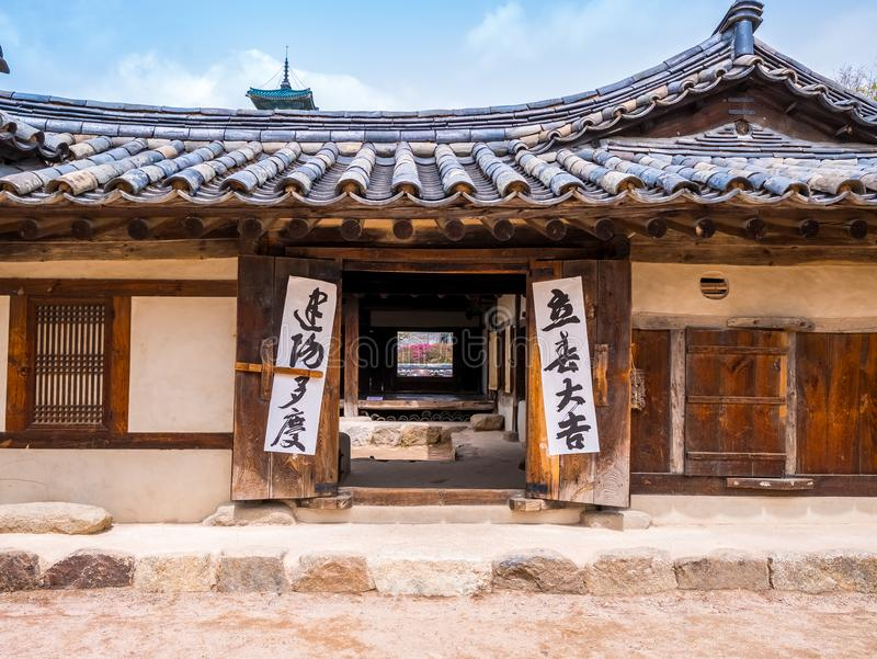 SEOUL, KOREA - APRIL 15 2018: National Folk Museum of South Korea located within the grounds of the Gyeongbokgung Palace visitors stock photography