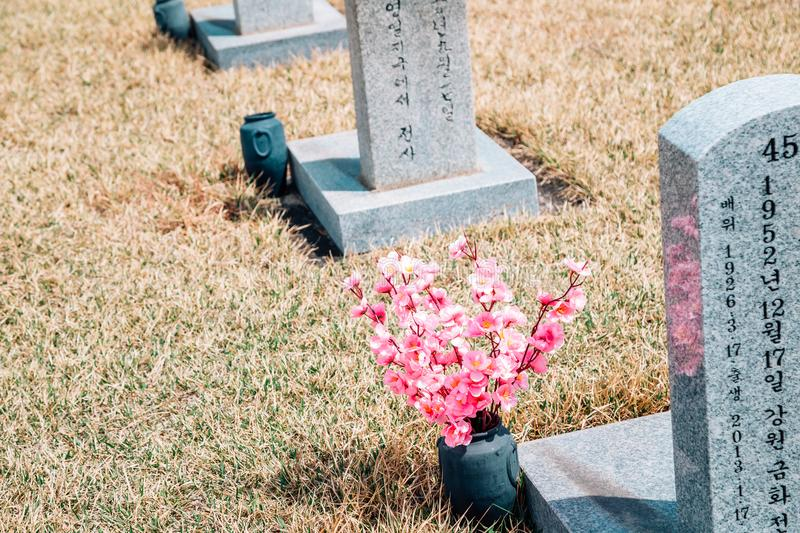 Tombstones at spring in Seoul National Cemetery, Korea stock image