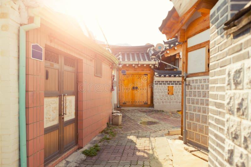 SEOUL, KOREA - AUGUST 09, 2015: Unique houses at Seochon Hanok Village resedential area - Seoul, South Korea. SEOUL, KOREA - AUGUST 09, 2015: Unique houses of royalty free stock image