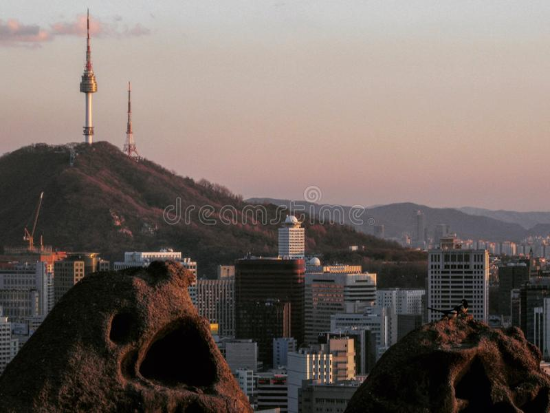 Seoul, officially the Seoul Special Metropolitan City – is the de facto capital and largest metropolis of the Republic of Korea. The mountains of Seoul royalty free stock photo