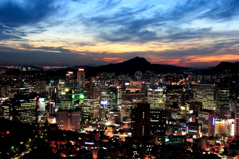 Seoul a penombra immagini stock libere da diritti