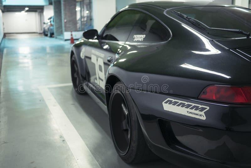 Seoul, Südkorea - 03 11 18: abstimmende schwarze hintere Ansicht Porsches 911 lizenzfreie stockbilder