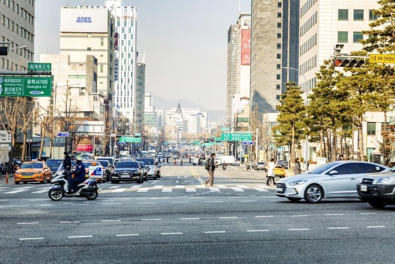 Seoul, Südkorea, 01/04/2018 Straße in der Stadt stockbild