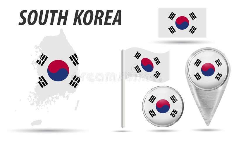 SEOUL - 30 Satzflagge, Kartenzeiger, Knopf, wellenartig bewegende Flagge, Symbol, flache Ikone und Karte in den Farben der Flagge lizenzfreie abbildung