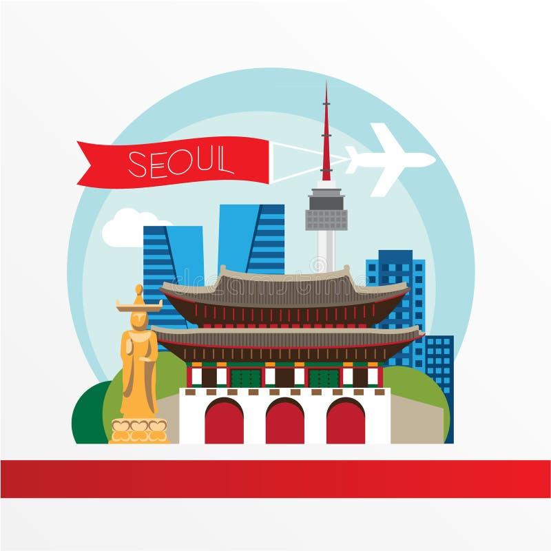 Seoul, silhueta detalhada Ilustração na moda do vetor, estilo liso Marcos coloridos à moda Gwanghwamun - o símbolo do sul ilustração royalty free