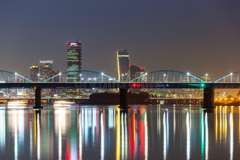 Seoul skyline at night. Seoul city skyline at night stock image