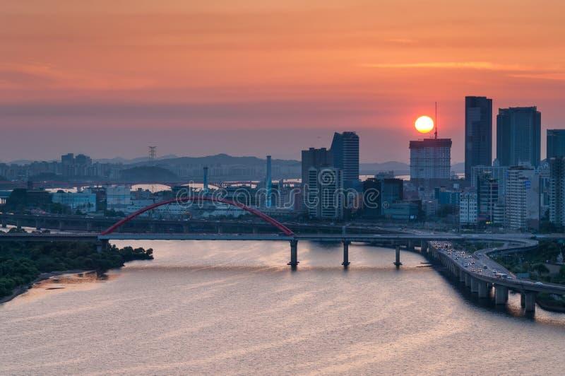 Seoul solnedgång royaltyfria foton