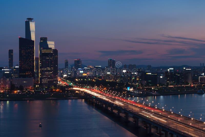 Seoul solnedgång royaltyfri foto