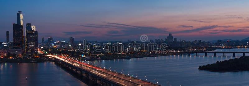 Seoul solnedgång royaltyfri fotografi