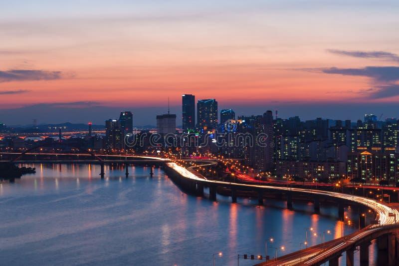 Seoul solnedgång arkivfoton