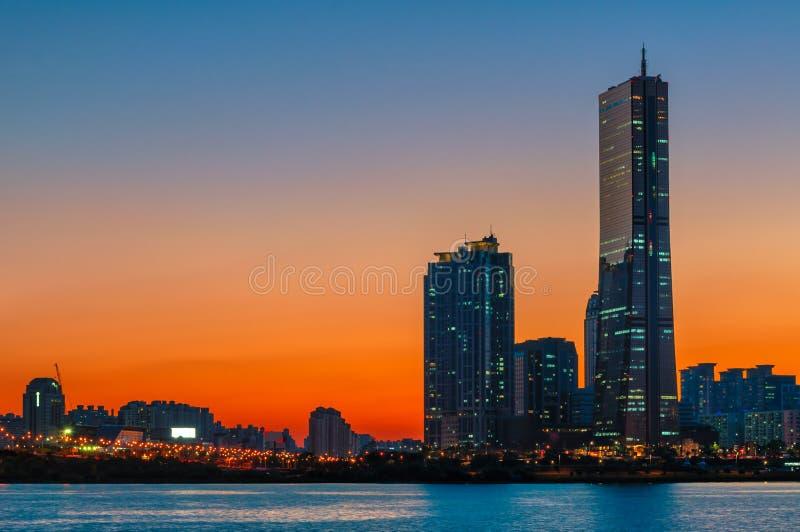 Seoul solnedgång royaltyfri bild