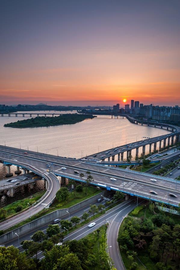 Seoul solnedgång arkivbild