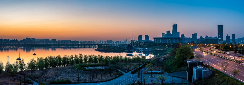 Seoul-Sonnenaufgang stockbild