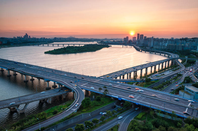 Seoul-Sonnenuntergang lizenzfreie stockfotografie