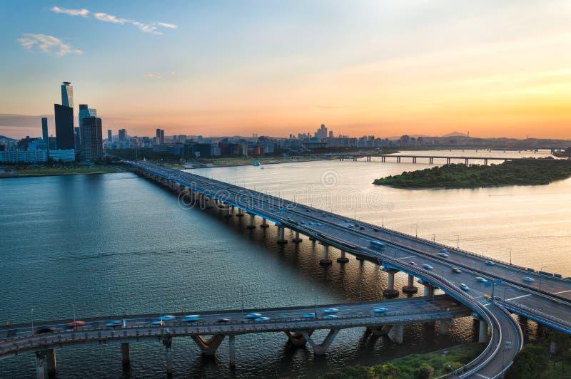 Seoul-Sonnenuntergang stockbild