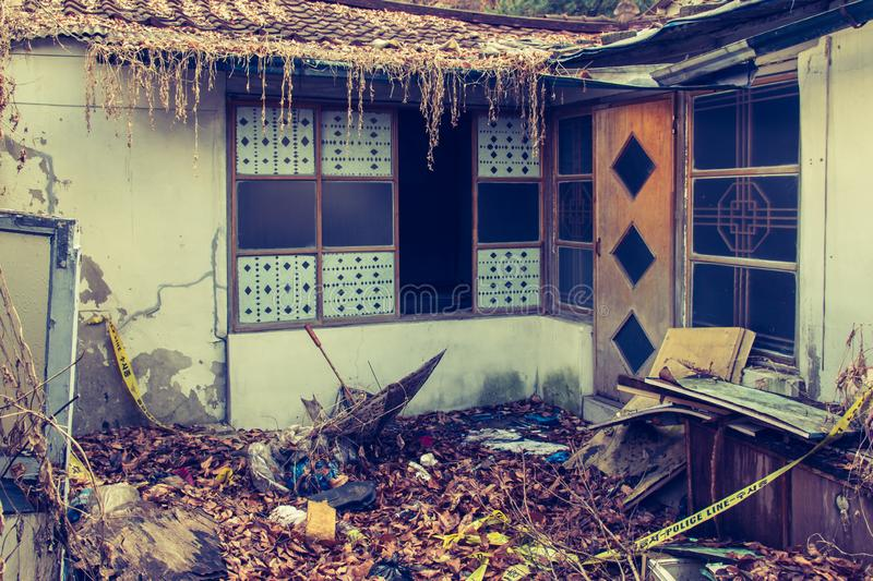 abondoned house after crime in poor village called Baeksa Village in Seoul stock image