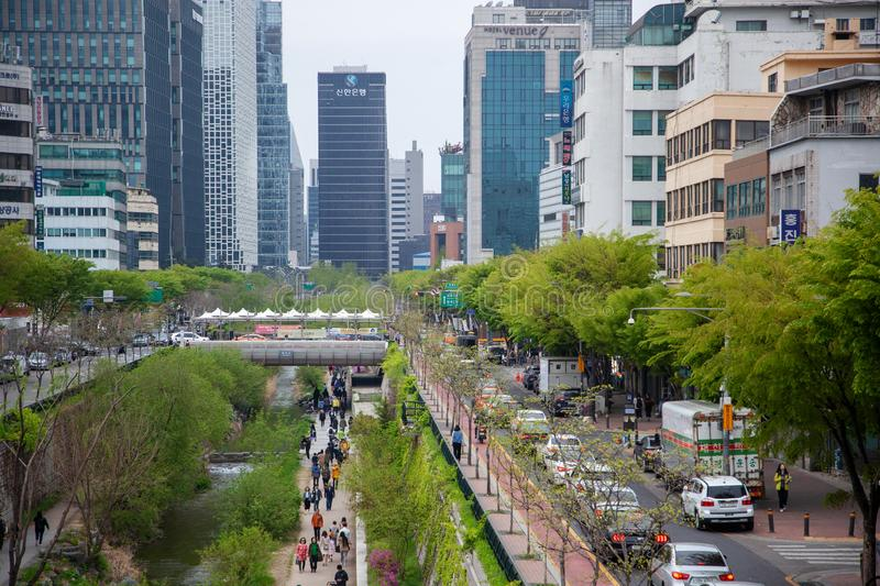 Seoul South Korea, April 2019 street along the river in the city center Cheonggyecheon Stream. Seoul South Korea, April 2019 street along river in the city royalty free stock photo
