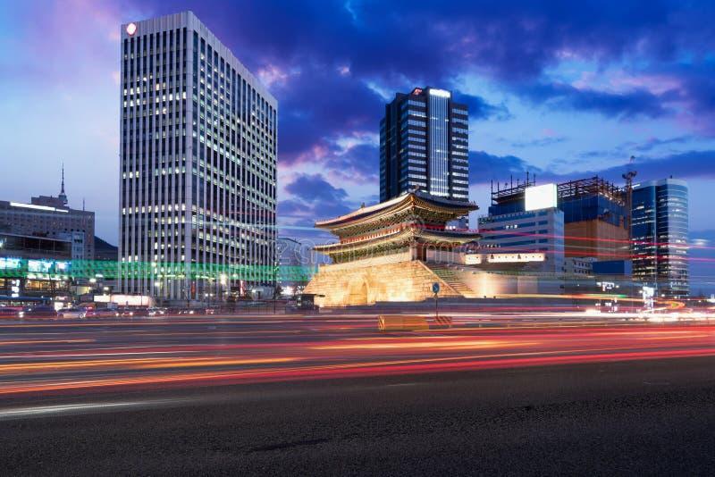 Seoul, South Korea cityscape and traffic Namdaemun Gate royalty free stock photography