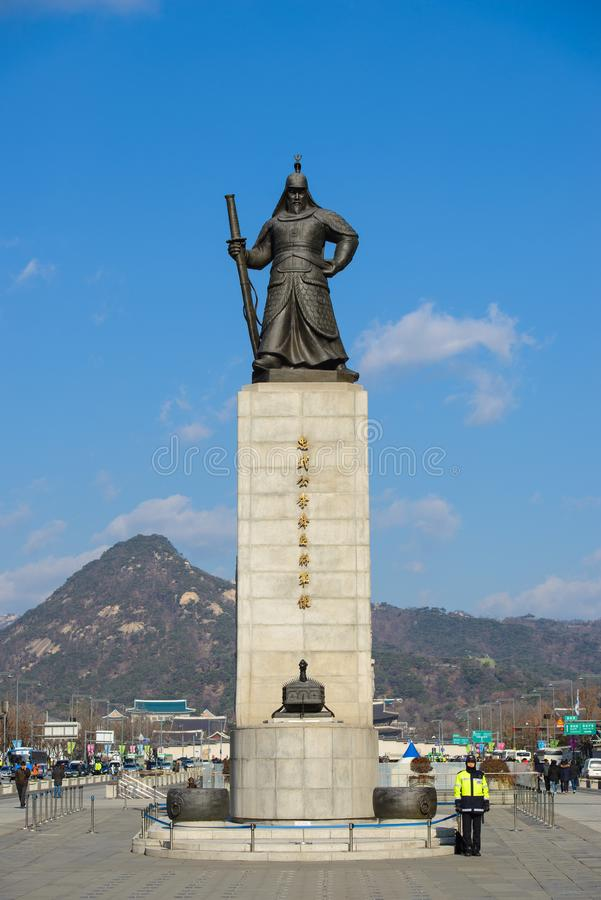 Seoul, South Korea - December 16, 2015 : Admiral Yi Sun-Shin statue at Gwanghwamun square in Seoul on September 25. 2016 in South stock photography