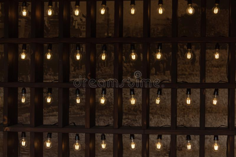 SEOUL, SOUTH KOREA - JAN 21, 2018: Deoksugung temple art exhibition with rhythmical tungsten lights. At daytime stock photo