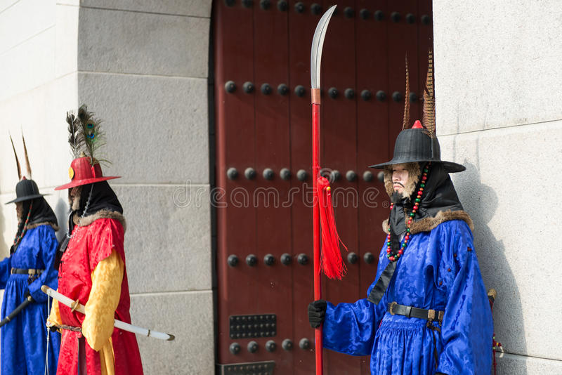 Seoul, South Korea January 13, 2016 dressed in traditional costumes from Gwanghwamun gate of Gyeongbokgung Palace Guards. Seoul, South Korea - January 13, 2016 stock image