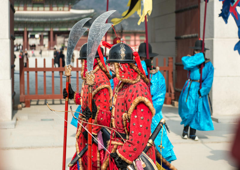 Seoul, South Korea January 13, 2016 dressed in traditional costumes from Gwanghwamun gate of Gyeongbokgung Palace Guards. Seoul, South Korea - January 13, 2016 royalty free stock photos