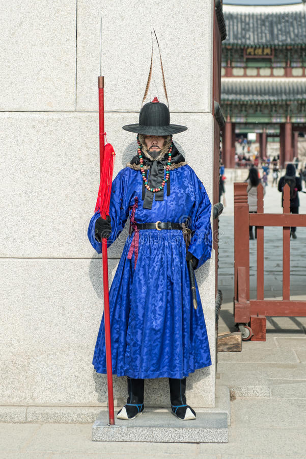 Seoul, South Korea January 13, 2016 dressed in traditional costumes from Gwanghwamun gate of Gyeongbokgung Palace Guards. Seoul, South Korea - January 13, 2016 royalty free stock photo