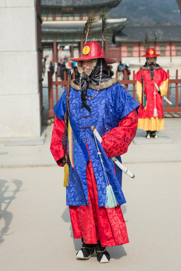 Seoul, South Korea January 13, 2016 dressed in traditional costumes from Gwanghwamun gate of Gyeongbokgung Palace Guards. Seoul, South Korea - January 13, 2016 stock photos