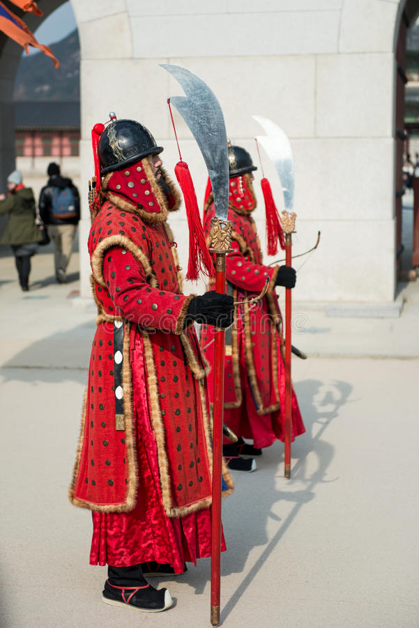 Seoul, South Korea January 13, 2016 dressed in traditional costumes from Gwanghwamun gate of Gyeongbokgung Palace Guards. Seoul, South Korea - January 13, 2016 stock images