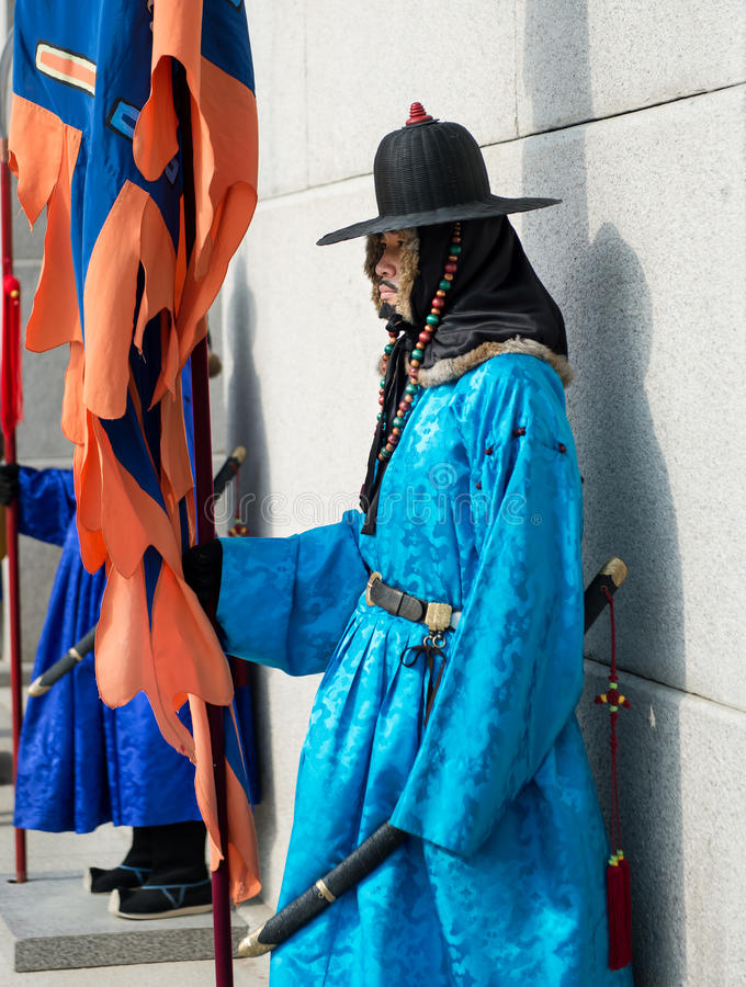 Seoul, South Korea January 13, 2016 dressed in traditional costumes from Gwanghwamun gate of Gyeongbokgung Palace Guards. Seoul, South Korea - January 13, 2016 royalty free stock photography