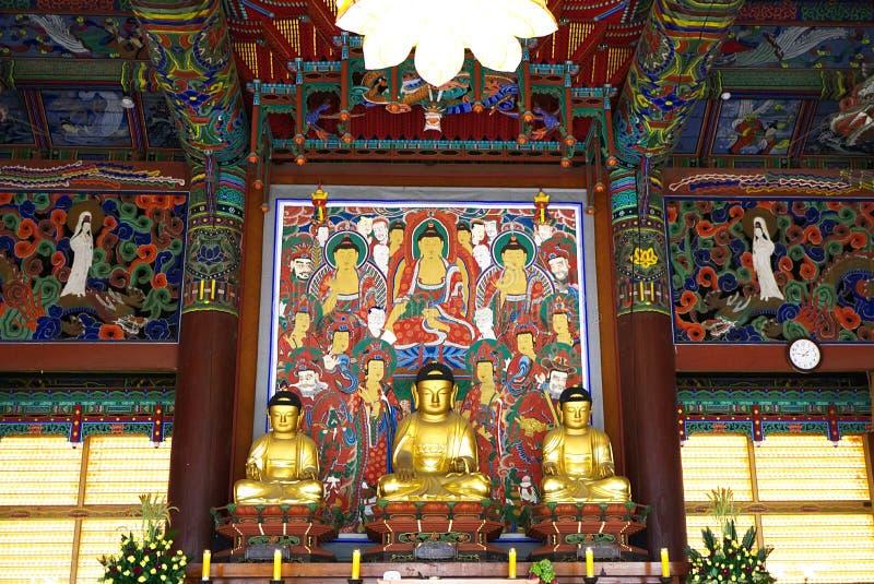 SEOUL, SOUTH KOREA - JANUARY 28, 2018: Golden Budha at bongeunsa temple seoul south korea stock images