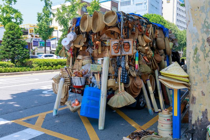 Traditional household goods selling at truck in Anguk Station, Seoul city. Seoul, South Korea - July 21, 2018 : Traditional household goods selling at truck in royalty free stock photos