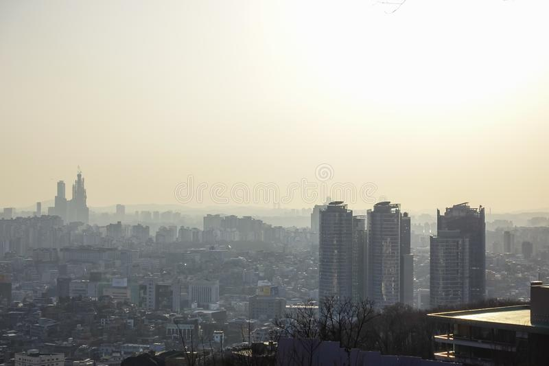 Seoul, South Korea - 17 March 2019: a dusty view of Seoul from Namsan, Seoul, Korea stock images