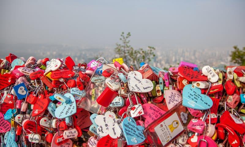 Seoul,South Korea - March 14,2019 Master key locks on N Seoul Tower stock photography