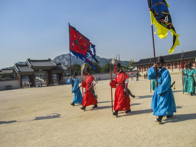 Seoul, South Korea, October 2012: Ceremony of Gate Guard Change near the Gyeongbokgung Palace in Seoul city, South Korea royalty free stock image