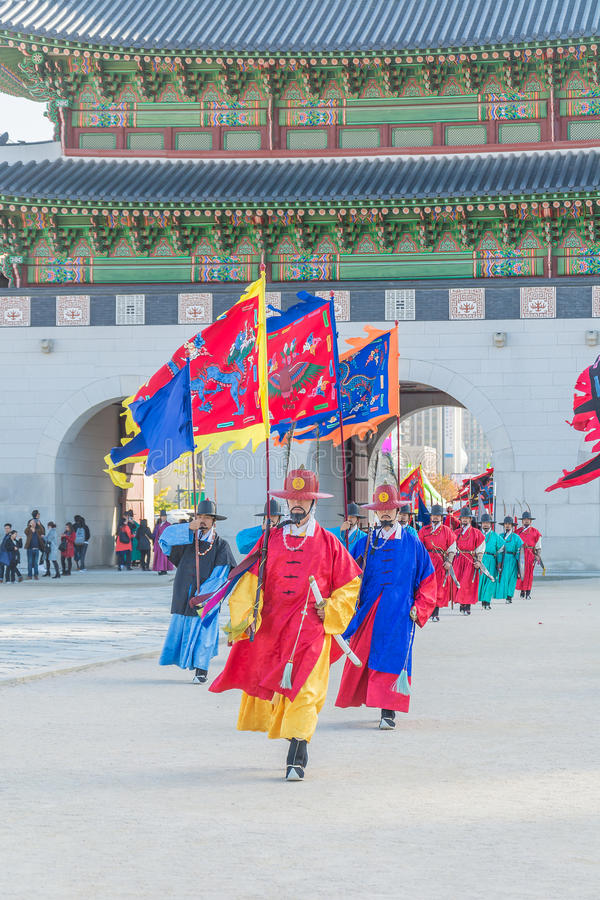SEOUL, SOUTH KOREA - October 30, 2015 : The soldier march changing of the guard demonstration at Gyeongbokgung Palace on October stock images