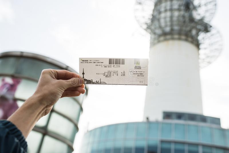 SEOUL, SOUTH KOREA,26 October 2016: Ticket for N Seoul Tower stock photo