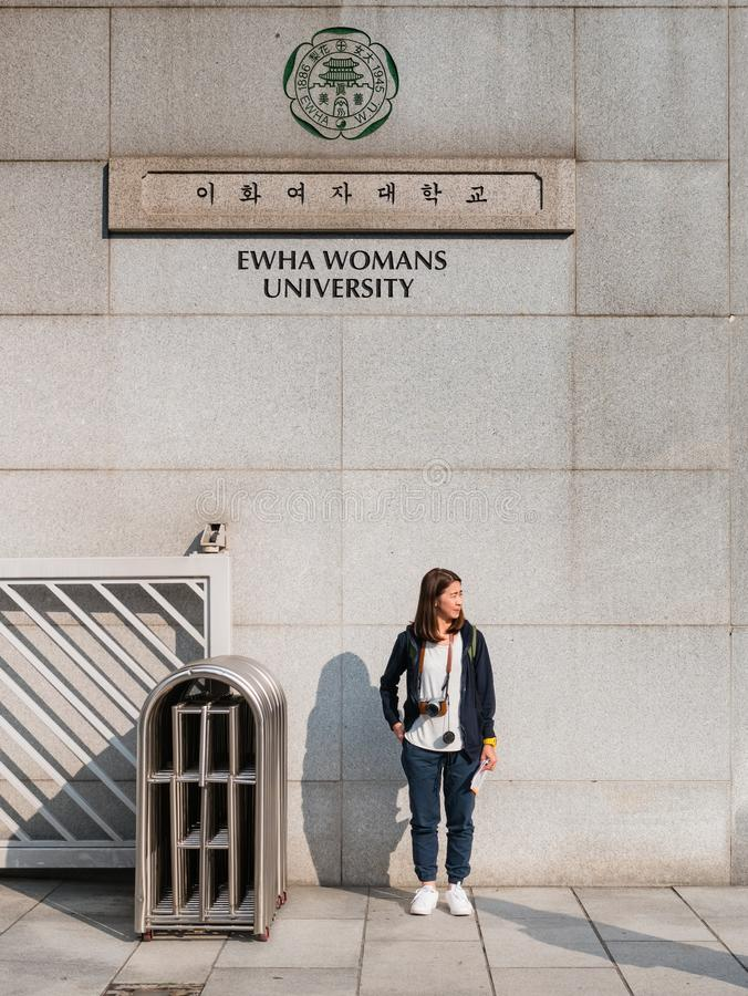 Tourist visiting Ehwa womans university. royalty free stock photography
