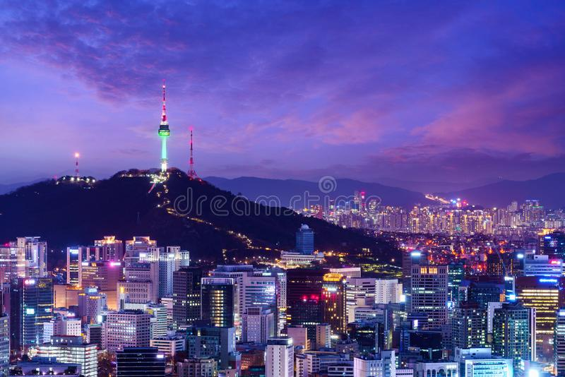 Seoul stadshorisont arkivfoton