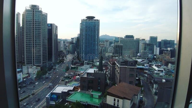 Seoul stadspanorama från Namsanen royaltyfri foto