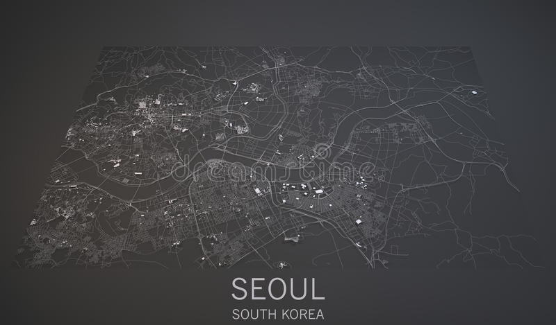 Seoul streets and buildings 3d map, South Korea stock illustration