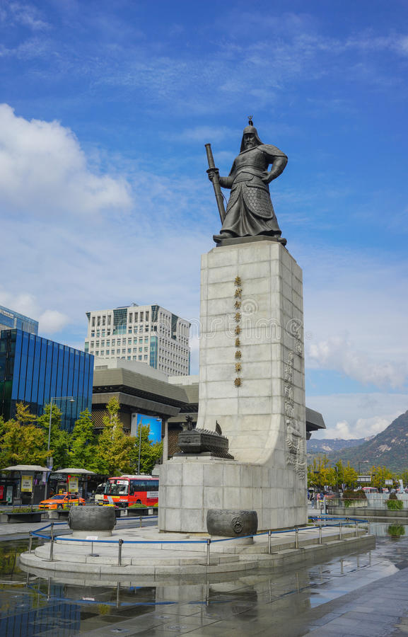 SEOUL SYDKOREA - OKTOBER 28, 2016: Gwanghwamun fyrkant med royaltyfria bilder