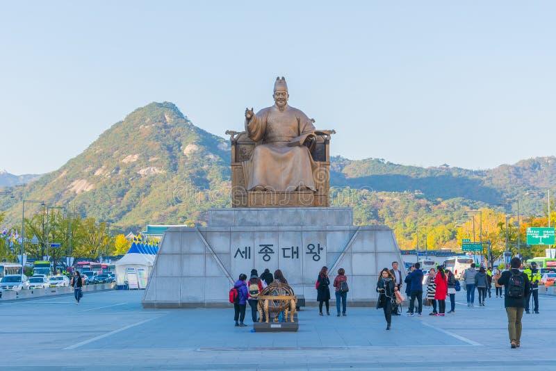 SEOUL SYDKOREA - Oktober 30, 2015: Konungsejongstaty i seo royaltyfria bilder